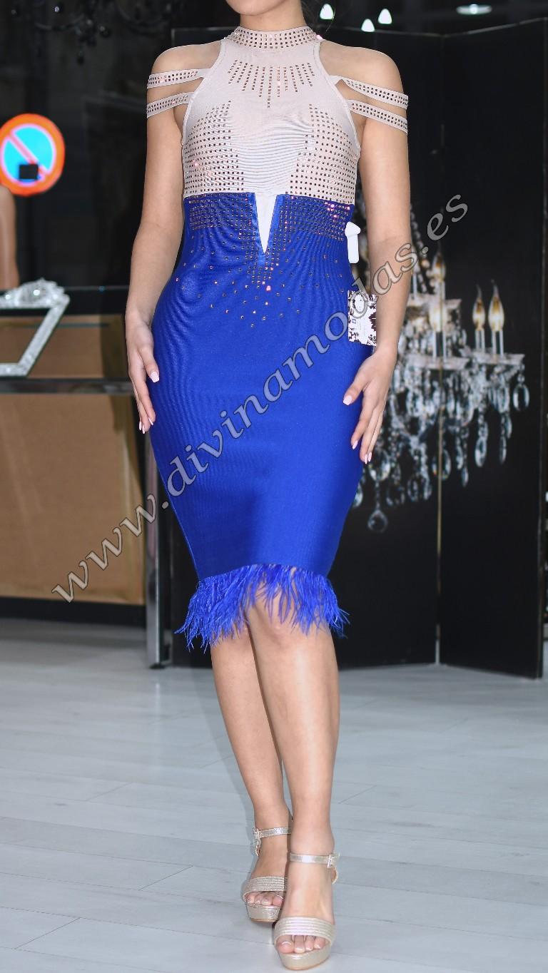 vestido bandage bicolor